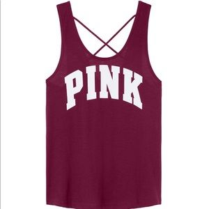 New vs PINK deep ruby strappy back tank top